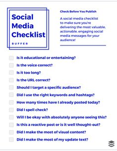 Interested in getting the most out of your tweets, FB posts, and social media updates? Run through this Social Media Checklist before you hit send. :)
