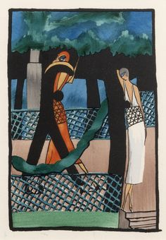 Untitled Promenade (from The Essence of the mode of the day), 1920   Streamlined geometric designs and sheer power make Art Deco a perennial favorite at the gallery. Our collection is one of the strongest in the world and includes many hard to find poster treasures from the Machine Age. Artists include: Cassandre, Loupot, Colin, Broders, Barbier, Nizzoli, Riccobaldi, Seneca, Ribas, Wiertz, Ragan, and Maurer. Browse our collection at http://www.internationalposter.com