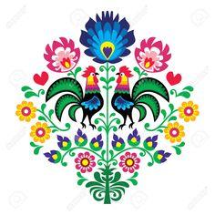 Bordado Popular Polaco Con Gallos - Estampado De Flores Wzory Lowickie Wycinanka Ilustraciones Vectoriales, Clip Art Vectorizado Libre De Derechos. Image 28072333.                                                                                                                                                      Más