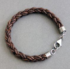 Mens trenzado cuero pulsera plata marrón gruesa por LynnToddDesigns, $62.00