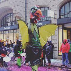 "We found the ""Basilisk"" at the Basler Fasnacht  #tripgourmets #basel #mybasel #baselswitzerland #lovebasel #baslerfasnacht #traveladventure #fasnacht #fasnacht2017 #carnival #carnival2017 #carnivalcostume #waggis #räppli #confetti #baselcity #fun #happy #costume #travelgram #travel #travelbloggers #swissness #instagood #fasnachtbasel #instahappy #pictureoftheday #goodtimes #funtimes #basilisk"