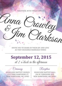 Geometric Watercolor Wedding Invitation by BurgundyHouse on Etsy