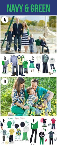 What to Wear for Family Pictures-Navy and Green.  Cute color palettes for pictures.:
