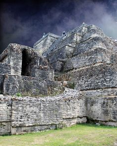 Ominous Clouds - Temple of the Masonry Altars Mayan archaelogical site of Altun Ha, Belize