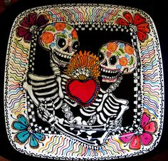 All Lovers Share a Sacred Heart Handpainted ceramic square platter made just for you as a custom design. Two skeletons share a Sacred Heart, united in