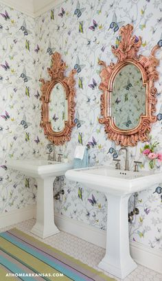 whimsical bathroom with butterfly wallpaper | Harper Howey Interiors