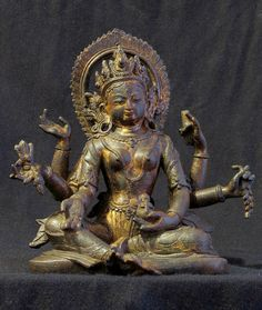 Vasudhara Goddess of Abundance. Nepal; ca. 16th C. Copper, Gilt.