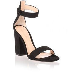 Gianvito Rossi Versilia black suede sandal ($745) ❤ liked on Polyvore featuring shoes, sandals, black, block heel ankle strap sandals, suede shoes, black ankle wrap sandals, black shoes and suede sandals