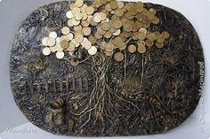 Картина панно рисунок Ассамбляж Теперь и уменя есть  денежное дерево Гуашь Клей Монета Салфетки фото 1