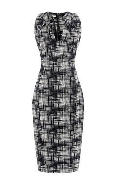 Printed Folded Collar Crepe Dress by Antonio Berardi Now Available on Moda Operandi