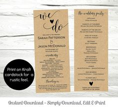 Printable Wedding Program Template Rustic Ceremony Wedding