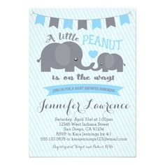 Blue Boy Peanut Elephant Baby Shower invitation -  Colors can be changed and matching party items and thank you cards can be made. For more information, email seasidepapercompany@gmail.com... #custom #toddler & baby themed #gift #invitation design by #seasidepapercompany - #invitation #little #peanut #lil #baby #shower #elephant #boy #blue #safari #invitation #invitations #invite #invites #twin #twins #boys #simple #fun #classic #stripes #printed #custom #printable