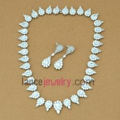Unique shape zirconia beads decorated neckalce and earrings set