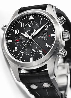 Discover a large selection of IWC Pilot Double Chronograph watches on - the worldwide marketplace for luxury watches. Compare all IWC Pilot Double Chronograph watches ✓ Buy safely & securely ✓ Best Looking Watches, Amazing Watches, Best Watches For Men, Luxury Watches For Men, Beautiful Watches, Cool Watches, Herren Chronograph, Iwc Watches, Fashion Watches