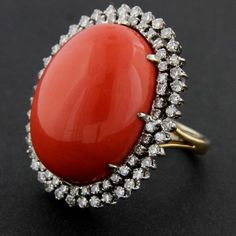 Coral and Diamond 18k white and yellow gold cluster style ring. Circa 1950's on Etsy, $3,750.00