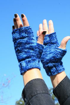 3 B Street - Hand Knit Merino Fingerless Mitts in Blues for Her or Him! by Queen Bee Knits #text #gloves #sunshine