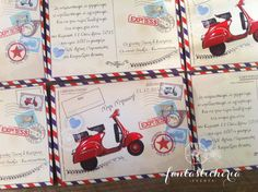 vespa! Vintage Airplane Party, Vintage Airplanes, Christening Themes, Vespa, Baby Shower, Ideas, Decor, Card Stock, Athens