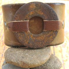Brown Leather Wrist Cuff with Rusty Washer - Upcycled - Medium