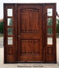 Rustic Exterior Doors with Sidelights - Knotty Alder Wood Doors Wood Front Doors, Rustic Doors, Rustic Entry, Rustic Exterior, Exterior Doors, Le Ranch, Door Design, House Design, Entry Door With Sidelights