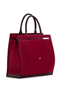Matilde Bag in Blood Red Calf Nabuk Leather with Dark Brown Details by Cambiaghi for Preorder on Moda Operandi