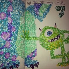 Wreck This Journal: fill this page with circles, Monsters Inc., Mike Wazoski, Sully