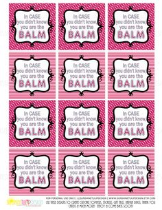 Printable You are the Balm Tags, Teacher Appreciation Tags, Chapstick gift tags, Lip Balm gift tags, DIY by SUNSHINETULIPDESIGN by sunshinetulipdesign on Etsy Welcome Back To School, Back To School Gifts, Employee Appreciation, Teacher Appreciation Week, Teacher Gifts, Student Gifts, Lip Balm Labels, Bath Products, Recognition Ideas