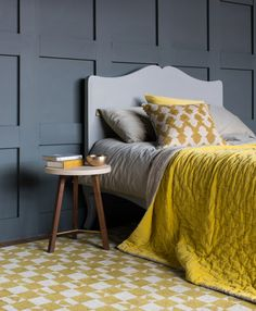 Buy the beautifully designed Chartreuse Yellow Velvet Throw, by The French Bedroom Company. Chartreuse Decor, Gray Interior, Interior Design, Mosaic Tile Table, Luxury Bedspreads, Velvet Quilt, Quilted Bedspreads, Home Trends, French Furniture