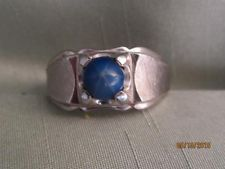 MEN'S VTG CLARK & COOMBS STERLING & FAUX BLUE STAR SAPPHIRE RING- SIZE 10- #1