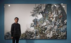 "Manabu Ikeda in front of his 2008 work ""Foretoken."""