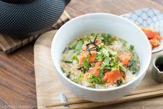 1 salted salmon,  1 cup cooked rice 1 tsp. Bubu arare (crispy puffed rice pallets or use Japanese rice crackers) 1 tsp. shredded nori (seaweed) ¼ tsp. roasted white sesame seeds, 2 strands of mitsuba (or ⅛ scallion), Wasabi (optional), Dashi, mirin, soy sauce, salt, 2 tsp. Japanese green tea leaves,