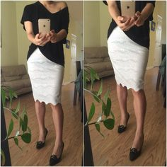 NWT - Baher  - beautiful laced pencil skirt NWT - Baher - beautiful lace white pencil skirt - size medium  - intricately laced with gorgeous patterns - 100 % Polyester  - NEW Baher Skirts Skirt Sets