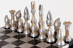 mid-century chess set; reminds me of the look of old science fiction films. I quite like it.