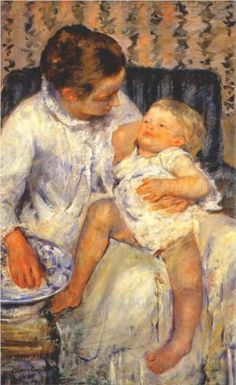 Mother about to Wash her Sleepy Child (Mary Cassatt)
