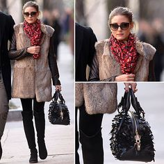 a sophisticated spin on downtown dressing, adding a fur Winter vest to slim black pants and a leather jacket. Over-the-knee boots and a pair of cat-eye shades finish the look.