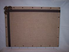 "23""x17"" Padded Burlap Cork Memo Board & Keyholder w/ Brass Accents by Marlo Custom Creations on ETSY"