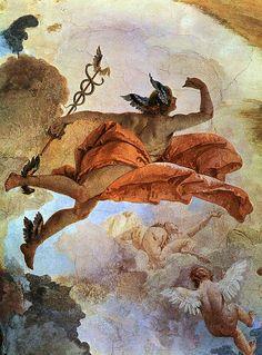 Greek Gods And Goddesses, Greek And Roman Mythology, Renaissance Paintings, Renaissance Art, Hermes Mythology, Mythology Paintings, Greek Paintings, Roman Gods, Roman Art