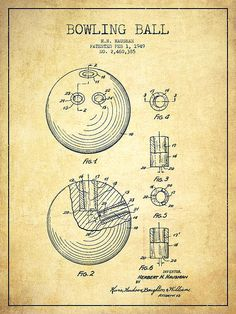 Bowling Ball Patent Drawing From 1949 - Vintage by Aged Pixel
