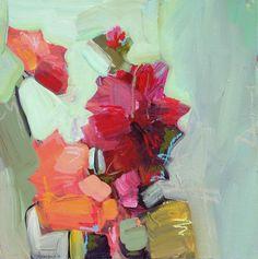 Dahlia Still Life  Jill van Sickle, artist, artwork, painting, floral, abstract, color, home decor