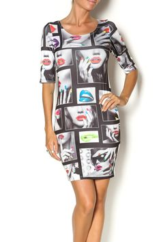 Short sleeve bodycon dress with a scoop neckline and print that includes neon lips and nails. Let this dress do all the talking and style with simple pumps.   Bodycon Dress by SJ Style. Clothing - Dresses - Printed Clothing - Dresses - Mini Clothing - Dresses - Night Out Naples, Florida