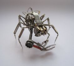 Mechanical Arthropod Creature Recycled Watch Parts Spider Justin Gershenson-Gates Watch Faces Stems Gears Arthropod Clockwork Robot Insect via Etsy