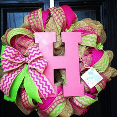 Hey, I found this really awesome Etsy listing at http://www.etsy.com/listing/151018226/burlap-wreath-with-hot-pinklime