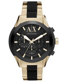 A|X Armani Exchange Watch, Men's Black Silicone and Yellow Gold Ion Plated Stainless Steel Bracelet 47mm AX1222 - Watch Brands - Jewelry & Watches - Macy's