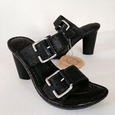 NEW-Born-Black-6M-36-Strap-Buckle-3-5in-Heel-Vacation-Sandal-Leather-NEW-179