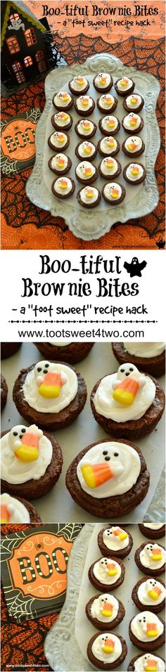 Boo-tiful Brownie Bites - a Ghostly and Easy Halloween Hack - Toot Sweet 4 Two - - Delicious and easy-to-decorate using store-bought brownies. Halloween Goodies, Halloween Desserts, Halloween Food For Party, Halloween Cupcakes, Easy Halloween, Halloween Treats, Spooky Treats, Halloween Stuff, Halloween 2016