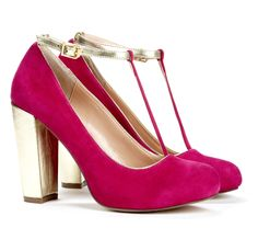 raspberry suede pumps with metallic tstraps