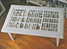 Love this idea! Vintage printer drawer made into a shadow box with all the treasures found on the beach.