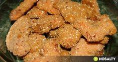 Rántott csirkemellfalatok a sütőből recept képpel. Hozzávalók és az elkészítés részletes leírása. A rántott csirkemellfalatok a sütőből elkészítési ideje: 35 perc Chicken, Food, Essen, Meals, Yemek, Eten, Cubs