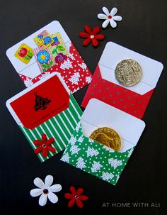 Make a mini envelope Christmas advent Christmas Advent Calendar for the kids with scrapbooking paper (free printable)