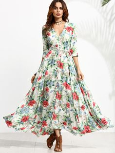 SheIn offers Floral Print Half Sleeve Drawstring Button Front Dress & more to fit your fashionable needs. Button Up Maxi Dress, Dress P, Swing Dress, Half Sleeve Dresses, Half Sleeves, Dresses With Sleeves, Cute Dresses, Summer Dresses, Maxi Dresses