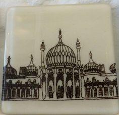Brighton Pavilion Coaster Handmade Glass by aLittleBeachBoutique Glass Coasters, Pavilion, Brighton, Taj Mahal, Christmas Cards, Ceramics, Unique Jewelry, Handmade Gifts, Abu Dhabi